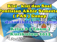 Soal PAS / UKK Kelas 6 Semester 2 Kurikulum 2013