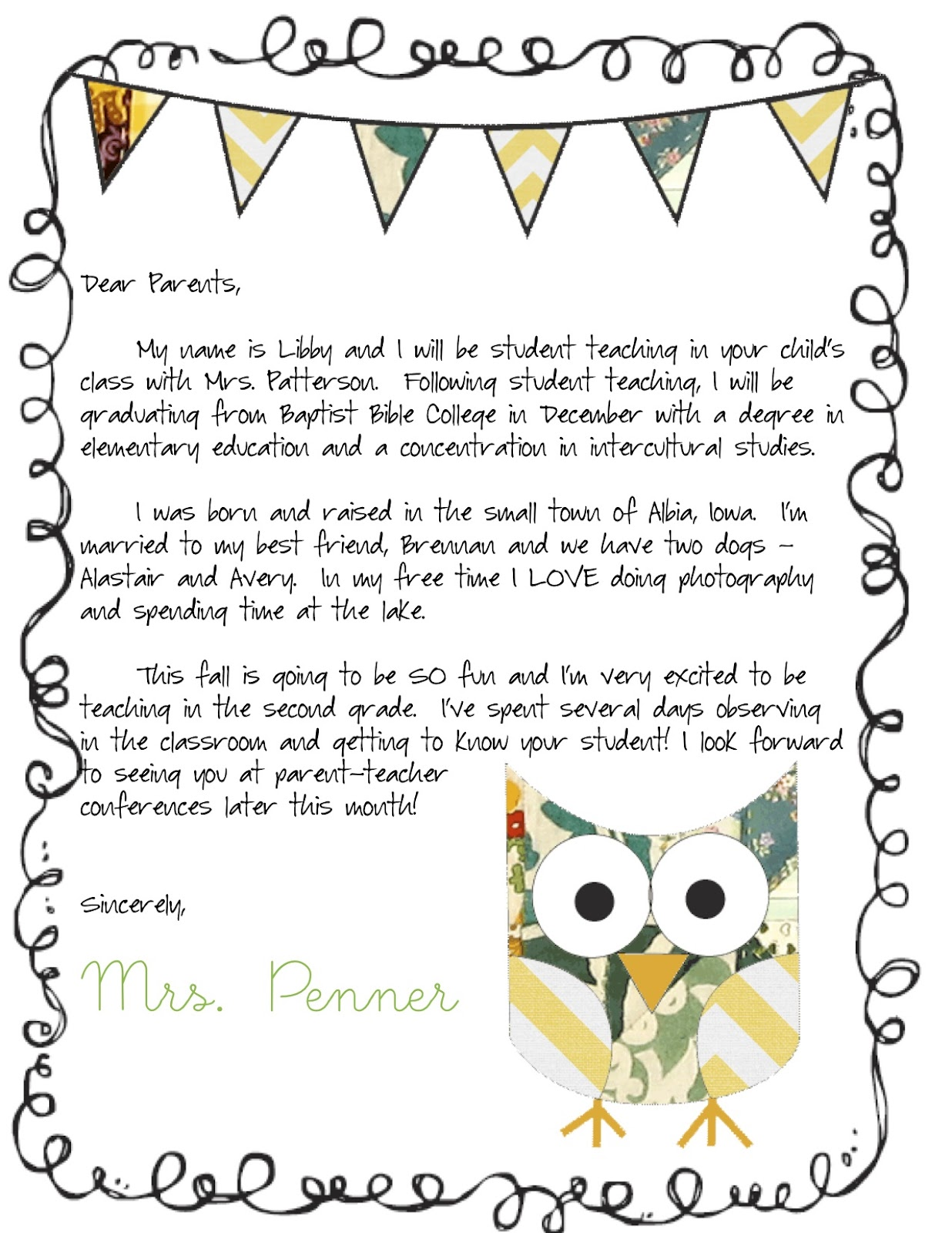 sample parent teacher conference letter
