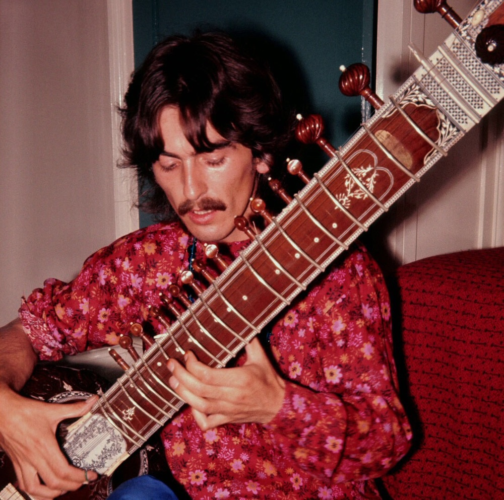 George Harrison Playing A Sitar Circa 1967