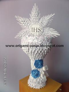 Komunia, prezent, papier, origami, kielich komunijny.