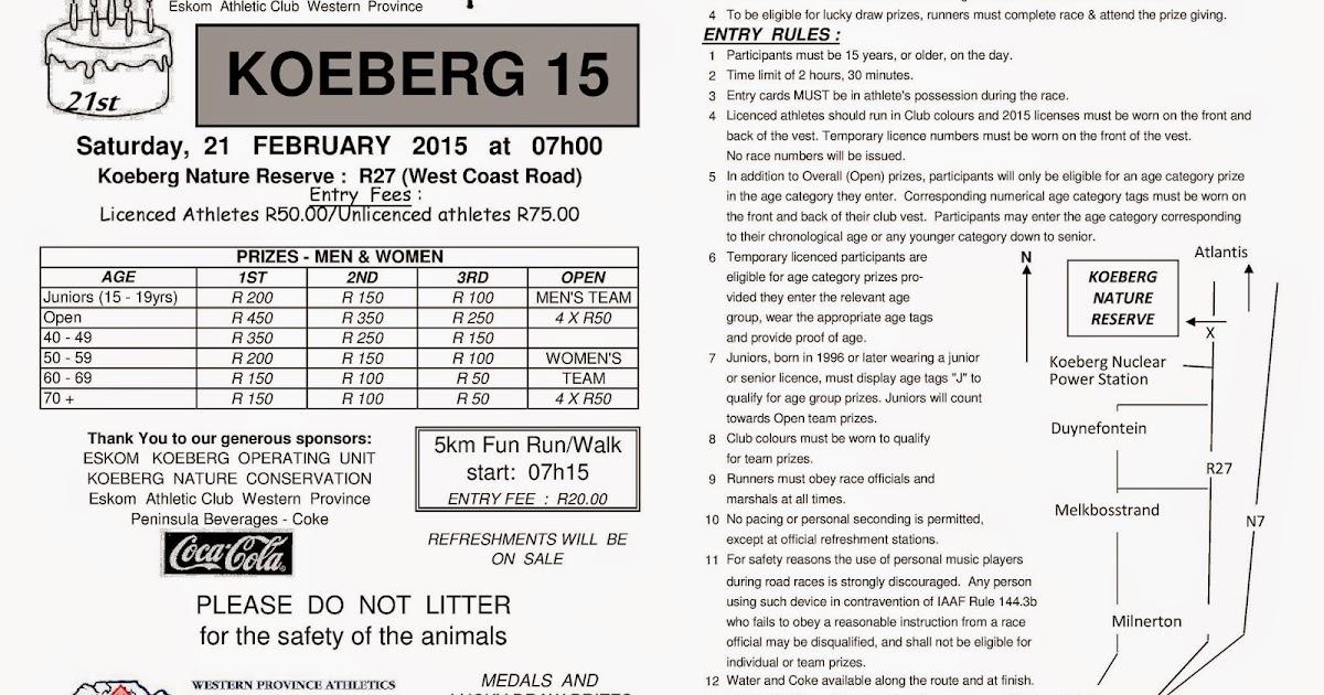 Bellville Running Club: Koeberg 15km