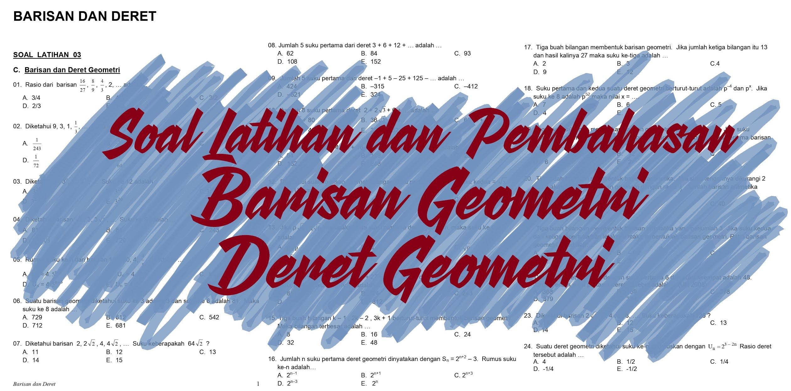 Matematika Dasar SMA: Soal Latihan dan Pembahasan Barisan dan Deret geometri