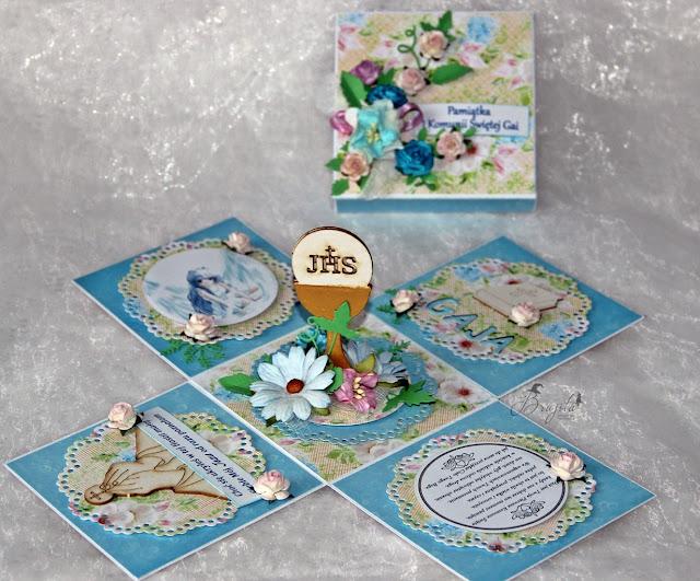 niebieski exploding box, prezent na komunię, manga, magiczna kartka inspiracje, I Komunia Święta, Gaja, tekturki I-Kropka, exploding box dla dziewczynki
