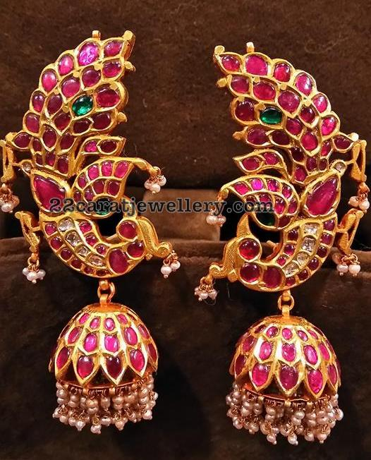 Peacock Jhumkas, Chandbalis and Pendant