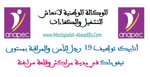 أنابيك: توظيف 19 رجل للأمن والمراقبة بمستوى نيفو باك في مدينة مراكش وقلعة سراغنة