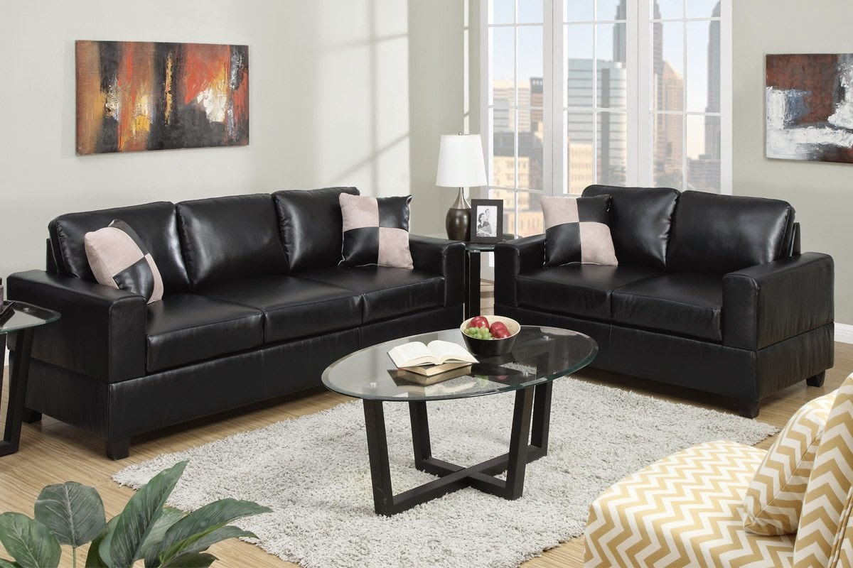 2 pieces sofa & love-seat in Bonded black leather with Accent Pillows