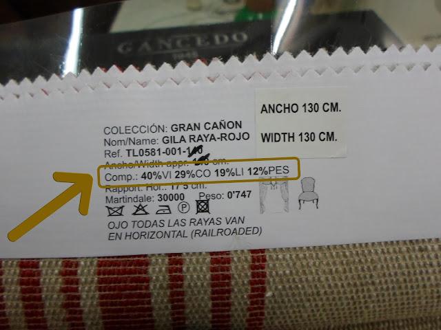 Muestrario Telas Gancedo - Abreviaturas Fibras Textiles