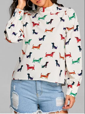 blusa manga longa comprida estampa cachorro dog dogs animal print saia rasgada thaina gava pet branca jovem mulher linda fofo rosegal loja china barata barato moda sucesso menina colorido colorida branca colors blouse