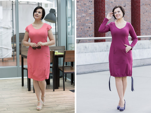 Девушка в розовом и сиреневом приталенном платье