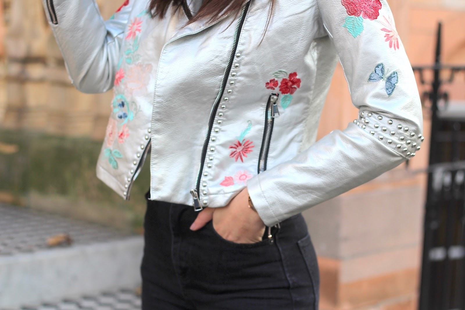 silver embroidered leather jacket glamorous peexo