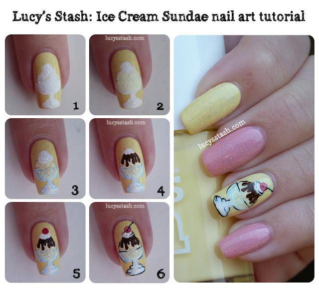 Cream Nail Art: Ice Cream Sundae Nail Art Manicure With Tutorial! Part Of