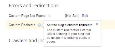 adding a custom redirect in Blogger