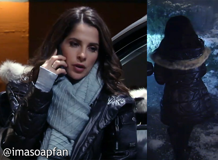 Sam Morgan, Kelly Monaco, Black Puffer Coat with Fur Trim, GH, General Hospital