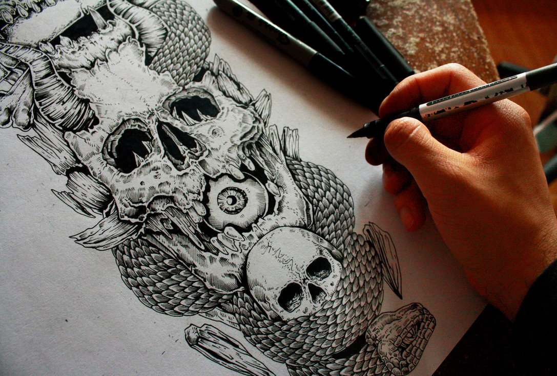 19-Skull-details-Erick-M-Gonzaga-E-G-The-Freak-Drawings-of-Characters-from-the-Underworld-among-us-www-designstack-co