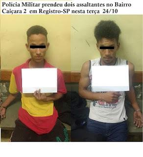 Polícia Militar prendeu dois assaltantes no Bairro Caiçara 2  em Registro-SP neste 24/10