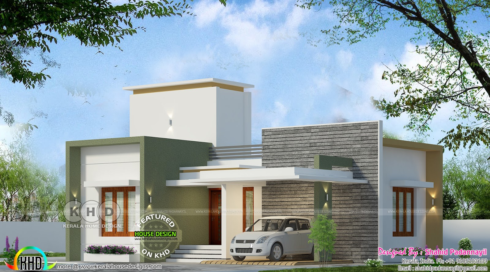 950 square feet 2 bedroom flat roof budget house kerala for 950 sq ft house plans