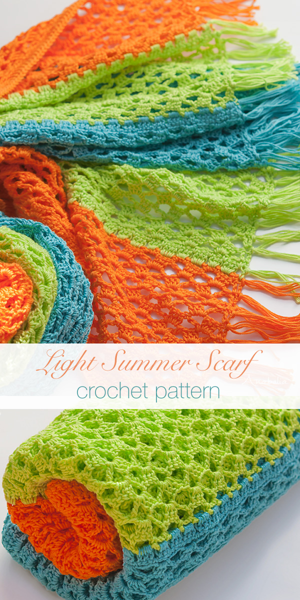 Light Summer Crochet Scarf by Anabelia Craft Design