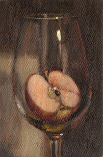 Oil painting of half an apple in a wine glass.