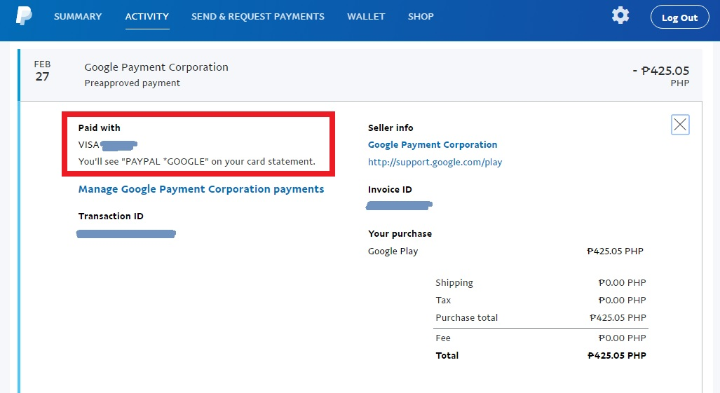 paypal issue on charging your credit debit card instead of your