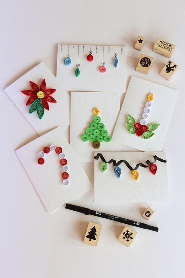 Dibujos Para Hacer Felicitaciones De Navidad.Mardefiesta Tarjetas De Navidad Con Figuras Quilling O