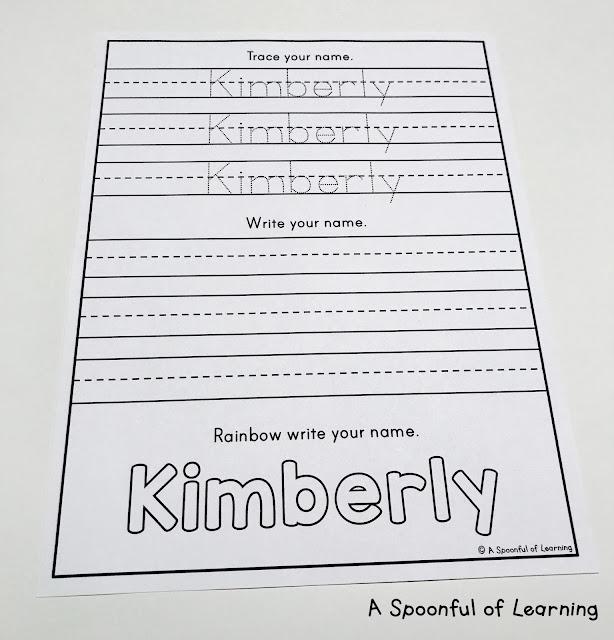 Name Activities -Trace, Write, Rainbow Write 1