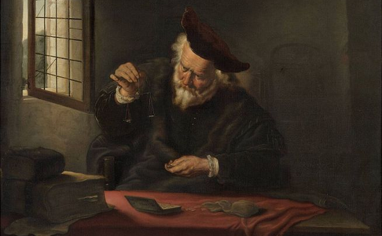 """The Gold-weigher"" by Salomon Koninck (1654)"
