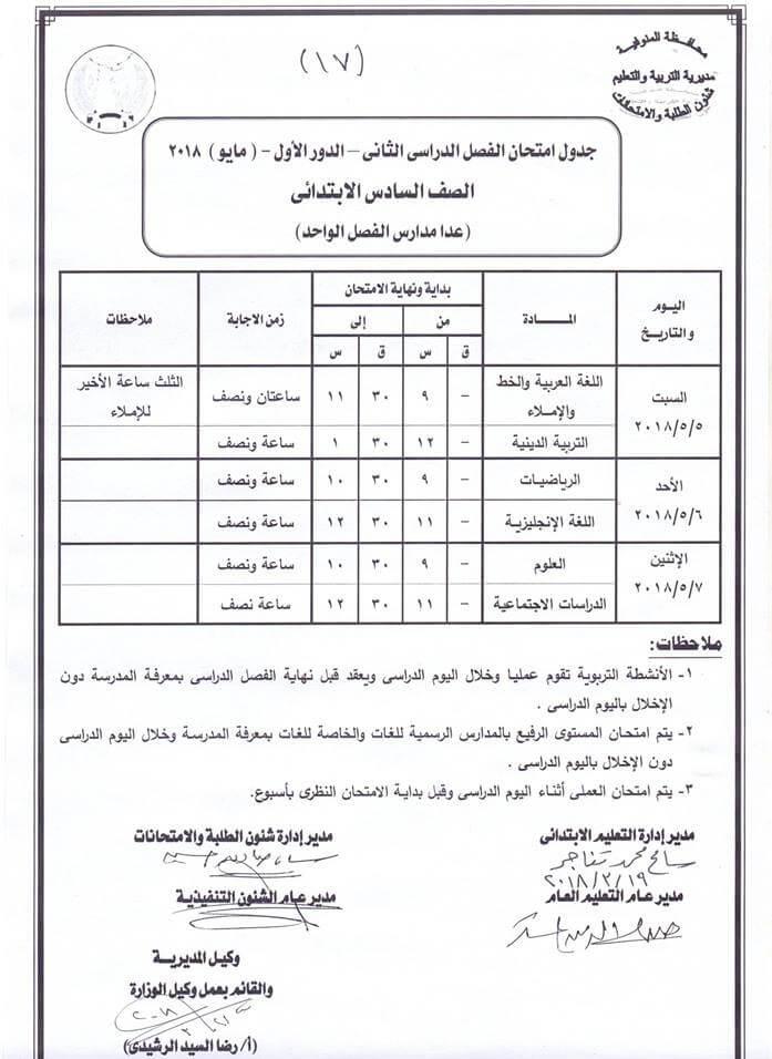 جدول امتحانات الصف السادس الابتدائي 2018 اخر العام محافظة المنوفية