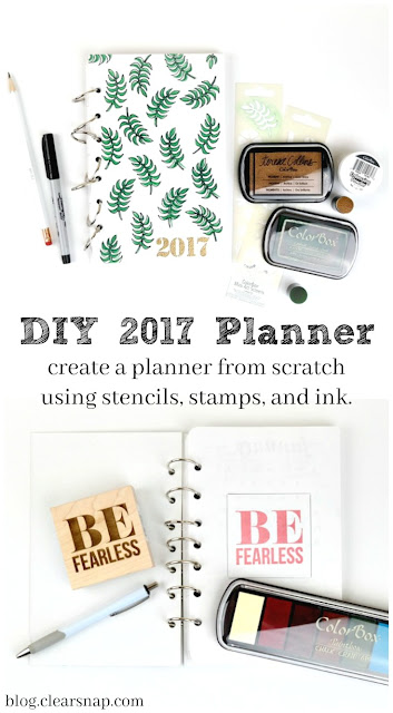 2017 Hand Stenciled and Embossed Bullet Journal Planner From Scratch Video Tutorial by Dana Tatar for Clearsnap