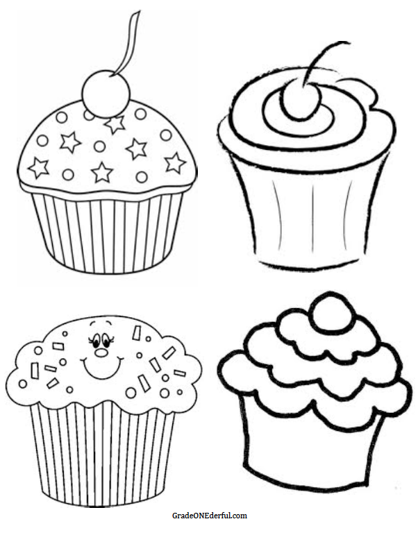 Grade ONEderful: 4 different black and white clipart cupcakes