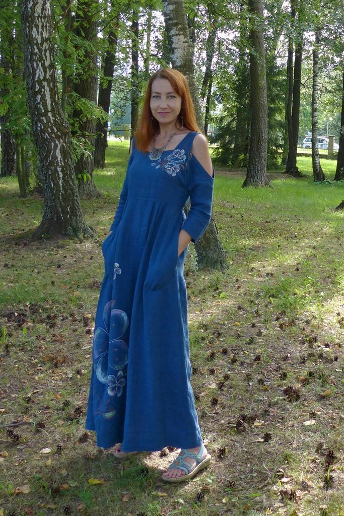 Summer linen maxi dress