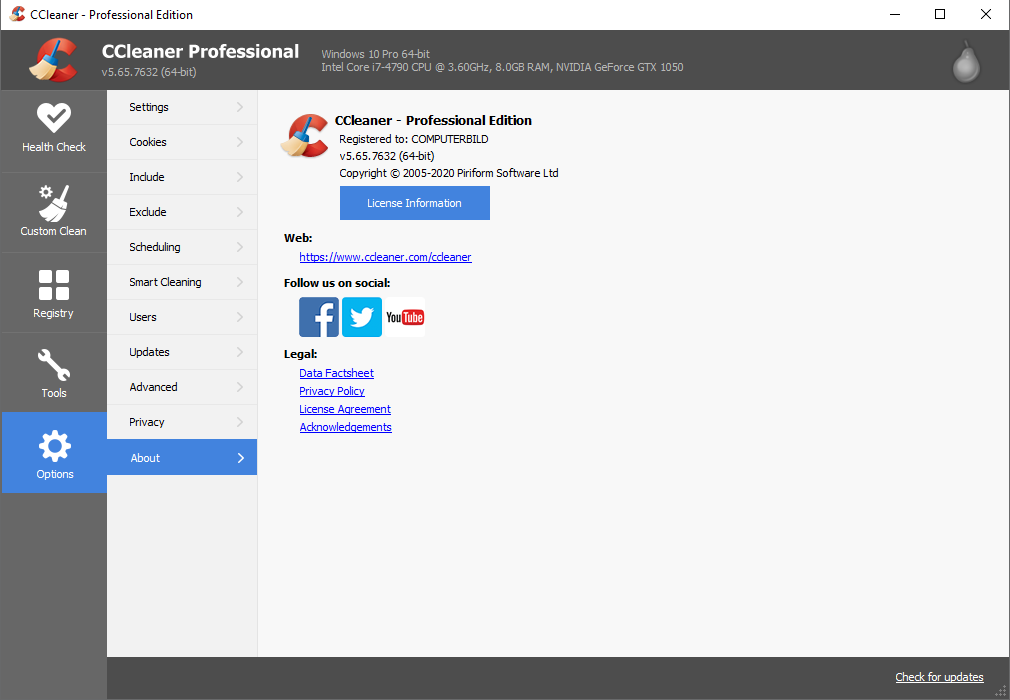 CCleaner 5.65.7632