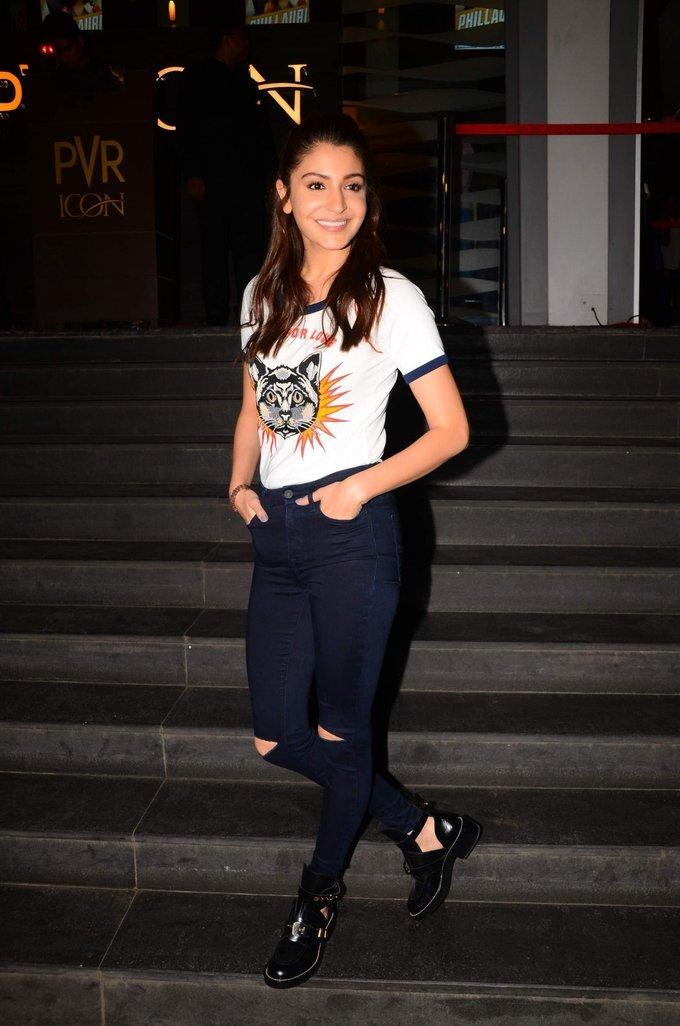 Anushka Sharma At Movie Special Screening In White Top Jeans