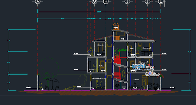 Insular house 3 levels in AutoCAD