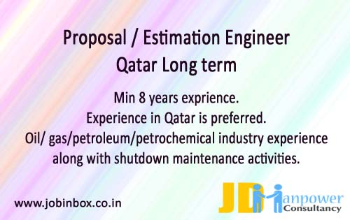 Oil & Gas Proposal / Estimation Engineer Job Vacancy in Qatar | JD Manpower Consultancy