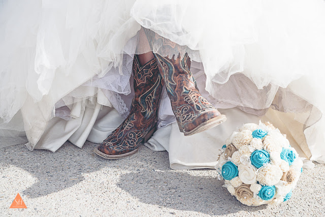 Boots and Bouquets! Rustic bridal bouquet with burlap and sola flowers