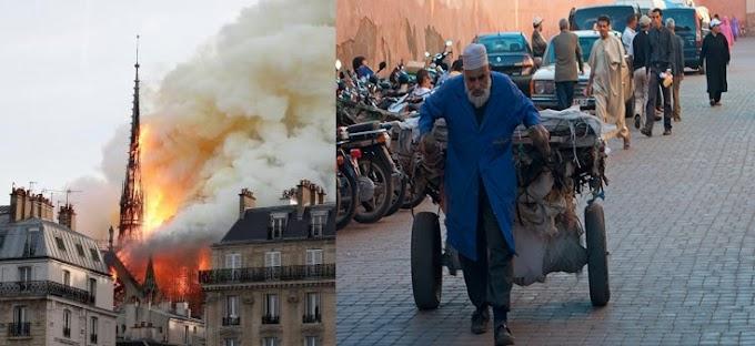 Mohamed VI dona millones de euros para reconstruir Notre-Dame, mientras su pueblo pasa hambre.