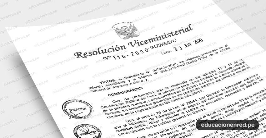 MINEDU publicó Anexo de la R. VM. N° 116-2020-MINEDU que aprueba el «Protocolo para el inicio del servicio educativo presencial del año escolar 2020»