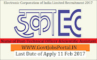 Electronics Corporation of India Limited Recruitment 2017 –Technical Officer, Scientific Assistant