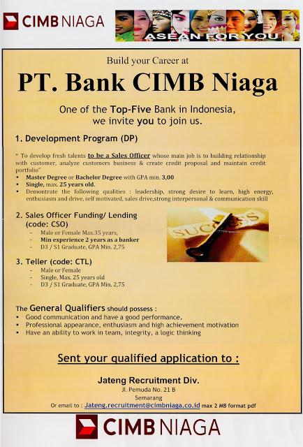 Lowongan Kerja Bank CIMB Niaga Juli 2016