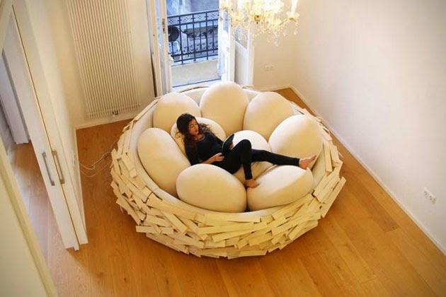 nido de huevos en forma de cama