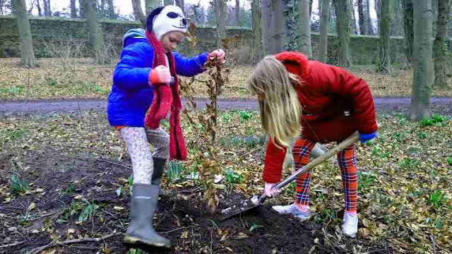 Kids getting involved in conservation projects - tree planting