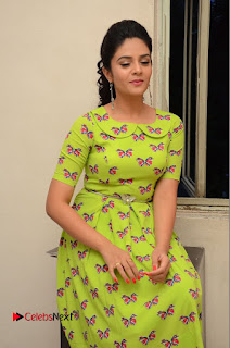 Actress Sri Mukhi Latest Pictures in Green Dress at Mental Movie Audio Launch  0082