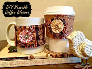 One Year of Craft Tutorials How to make or sew free reusable coffee sleeves with free pattern.