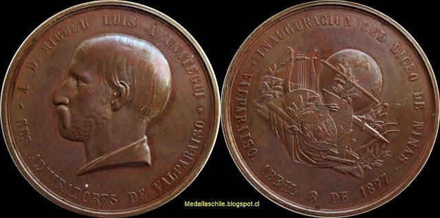 Medalla Miguel Luis Amunategui Inauguración del liceo de niñas Valparaíso