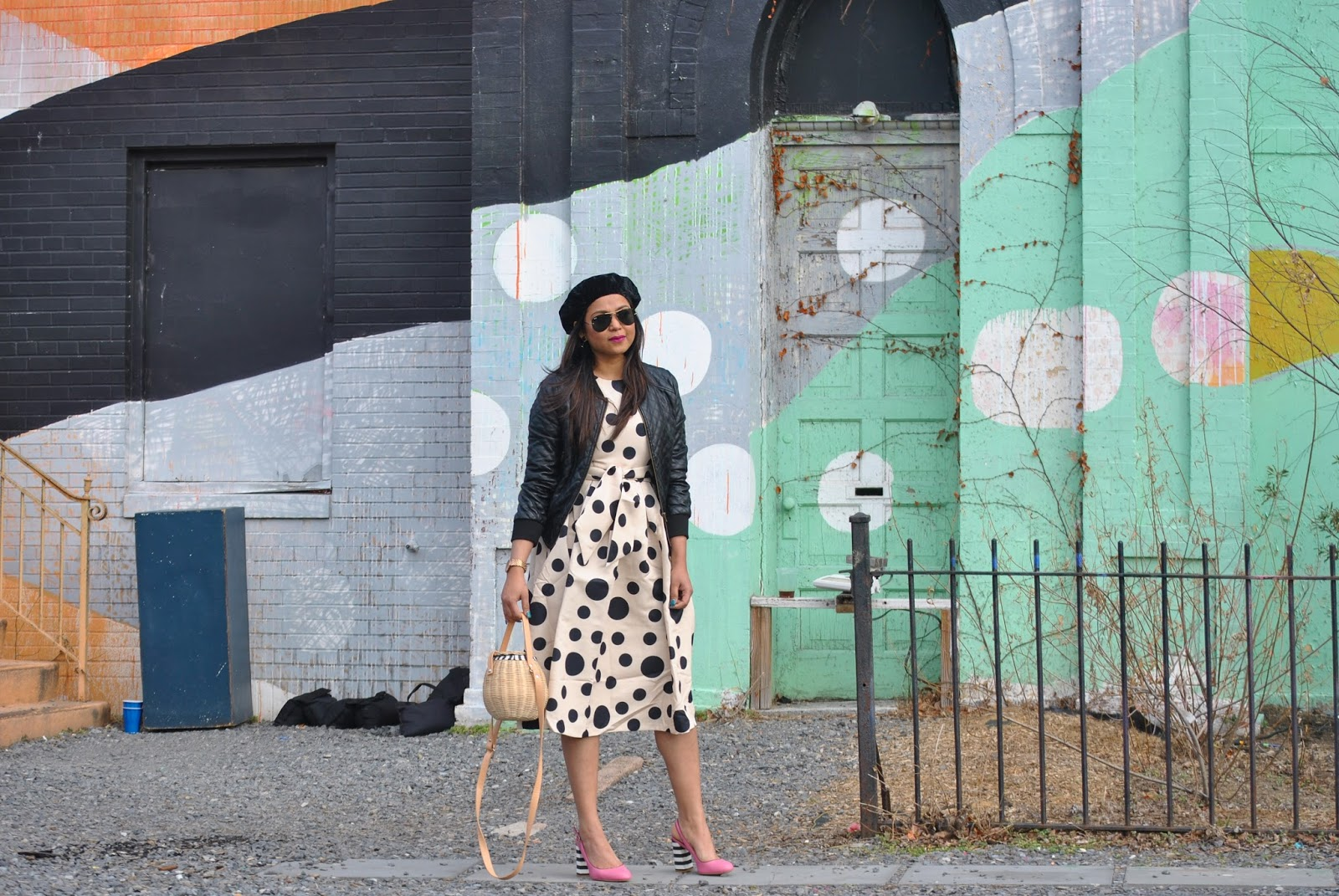 how to wear polka dots in winter, print on print, textured, fashion, street style, leather jacket, pink stripe heels, get out of a fashion rut, street style, beret style, myriad musings, Dainty Jewells polka dot midi dress