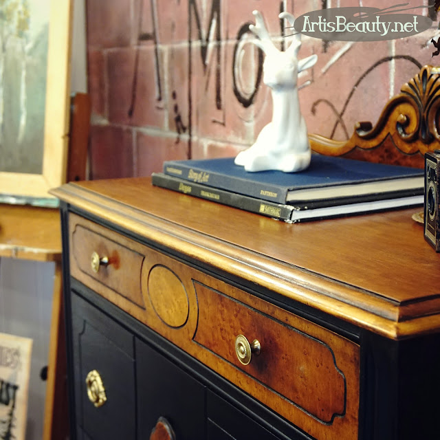 antique depression era dresser makeover before and after Lamp black general finishes