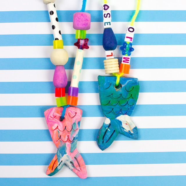 how to make clay mermaid tail necklace craft with kids- fun DiY jewelry gift idea
