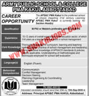 Jobs in Pak Army Public School & College Jobs September 2020