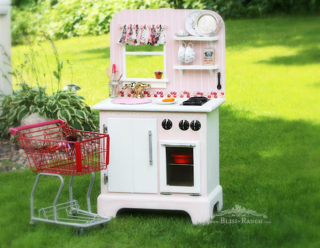 Nightstand Upcycle Pink Play Kitchen, Bliss-Ranch.com