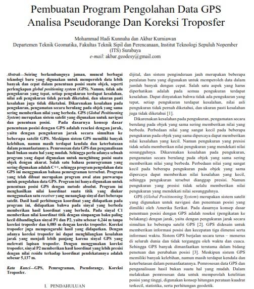 Pembuatan Program Pengolahan Data GPS Analisa Pseudorange Dan Koreksi Troposfer [Paper]